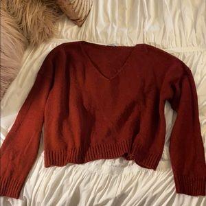 ASOS Maroon Crop V-neck Sweater